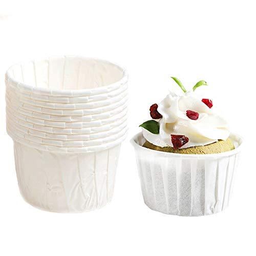 SPESH 50 Stücke Papier Backförmchen Muffinformen Einweg-Backbecher für Muffinform Bronnie Cupcake(Weiß)