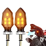 CCAUTOVIE Feux Clignotans LED Moto Indicateur Clignotant Universel Sequentiel Clignotants Moto Ampoule Custom Ambre Clignotant Moto Homologuée E24 (Amber-2pcs)