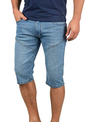 Indicode Quentino Herren Capri Jeans Shorts Kurze Denim Hose Aus Stretch-Material Regular Fit, Größe:M, Farbe:Blue Wash (1014)