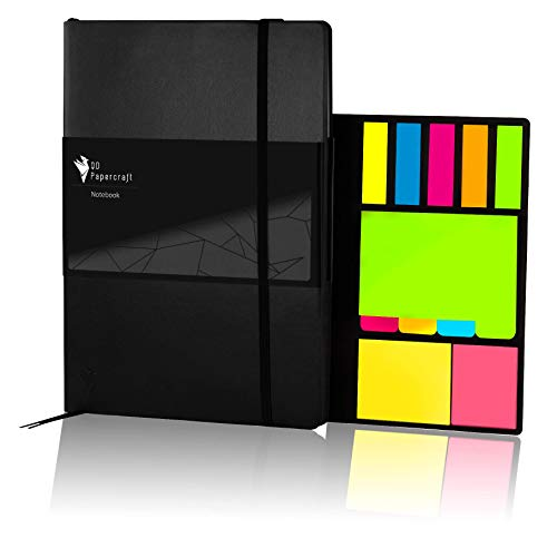Design Notizbuch QD Papercraft inklusive Haftnotizen, Innentasche und Lesezeichen | Kunstleder Softcover | schwarz kariert