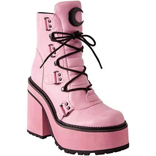 Killstar Plateaustiefel - Broom Rider Platform Boots Pink 36