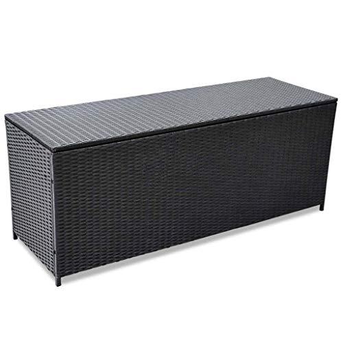 vidaXL Gartenbox Auflagenbox Kissenbox Kiste Gartentruhe Truhe Box Aufbewahrungsbox Auflagenkiste Garten Grau 150x50x60cm Poly Rattan - 2