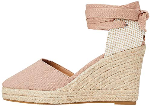 Marchio Amazon - find. Wedge Close Toe Canvas Espadrille Sandalo Espadrillas con Zeppa, Rosa (Pink), 40 EU