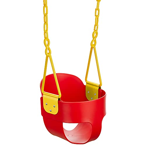 Squirrel Products High Back Full Bucket Toddler Swing with Exclusive Chain & Triangle Dip Pinch Protection and Carabiners for Easy Install - Red