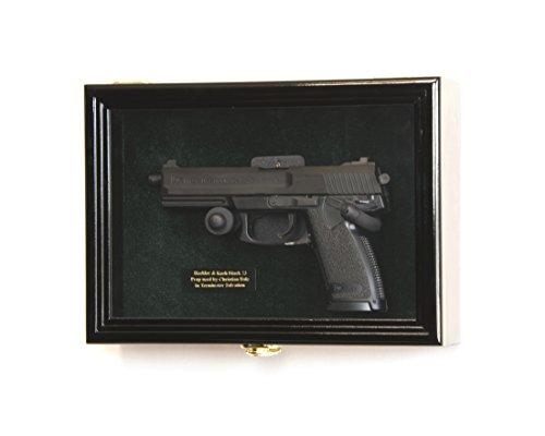 Single Pistol Display Case Wall Mount Solid Hardwood Cabinet...