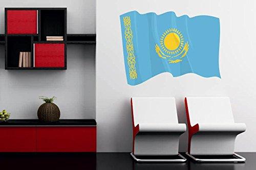U24 Wandtattoo Wehende Flagge Kasachstan 90 x 66 cm