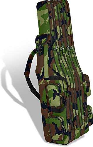 Rutentasche Rod Case Angelkoffer Futteral mit 3 Ruten-Fächern, Verschiedene Längen wählbar - stark wasserabweisender Fishing Rucksack Farbe Woodland 4 Innenfächer Größe 170 cm