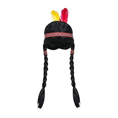 Kostümplanet Indianer Perücke Indianerin Kinder Mädchen mit geflochtenen Zöpfen Haarband Federn