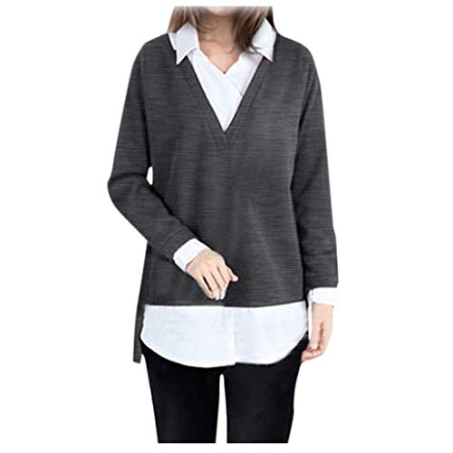 FRAUIT dames revers pullover sweater pullover twee stukken blouse pullover lange mouwen casual elegante V-hals pullover sweatshirt oversize losse mode streetwear bussiness casual kleding blouse top