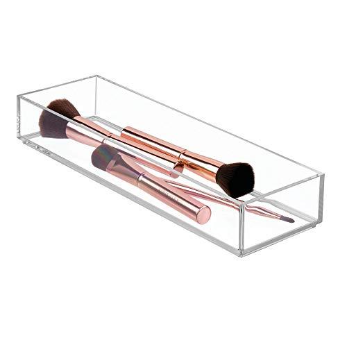 iDesign Aufbewahrungsbox für Bad, Küche oder Büro, mittelgroße Schubladenbox aus BPA-freiem Kunststoff, stapelbarer Kosmetik Organizer für Schminke, durchsichtig, M: 10 cm x 30,5 cm