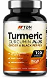 Turmeric Capsules High Strength 1800mg with Black Pepper and Ginger - 120 Capsules UK Made Premium Grade Turmeric Curcumin - Plus Vitamin C for Immune & Cell Support - Vegan - from A Trusted UK Brand