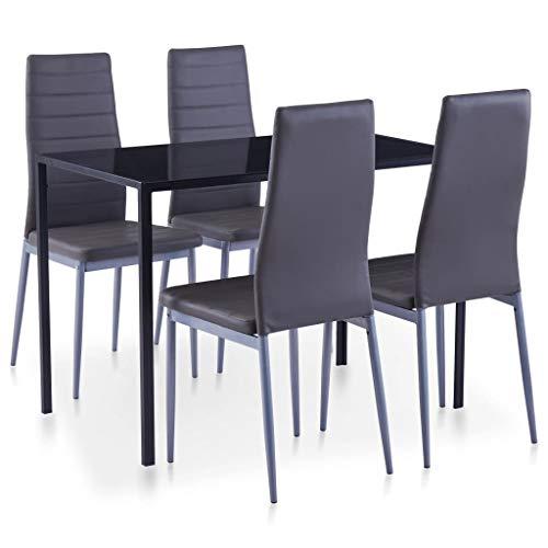 vidaXL Essgruppe 5-TLG. Esszimmertisch Esstischset Esszimmergarnitur Küchentisch Esszimmer Stuhl Tisch Set Sitzgruppe Esstisch mit 4 Stühlen Grau