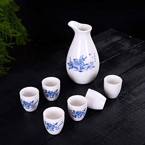 Ksnrang Juego de té, Taza de té, Juego de Vino de 7 Cabezas, dispensador de Vino de cerámica, Jarra Caliente, Jarra de Licor japonés, Copa de Vino, Logotipo Personalizado-Peonía Rica