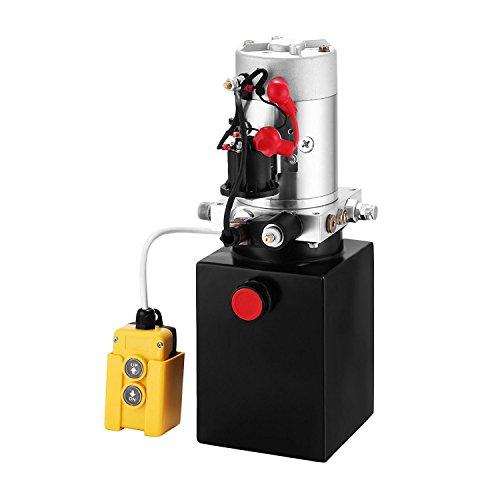 ZauberLu 12V/DC Hydraulikpumpe Einfachwirkend Kipperpumpe Hydraulikaggregat 4L Metallbehältertank Antriebseinrichtung für Auto(4L Einfachwirkend Metallbehälter)