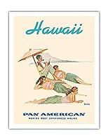 ハワイ - フラダンサー - パンアメリカン航空 - ビンテージな世界旅行のポスター によって作成された ノーマン・ロックウェル c.1956 - アートポスター - 51cm x 66cm