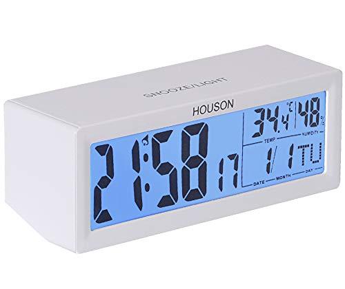 HOUSON LED Digital Wecker, Digitaluhr Tischuhr Reisewecker Alarm Clock Snooze Uhr Lautstärke einstellbar mit Thermo-Hygrometer, große LCD-Ziffern Hintergrundbeleuchtung Temperaturanzeige Wecker