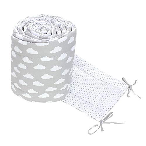 TupTam Babybett Bettumrandung Lang 2-seitig Gemustert Nest, Farbe: Wolken Grau/Punkte Weiß, Größe: 420x30cm (für Babybett 140x70)