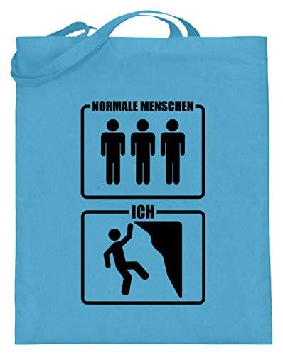 shirt-o-magic Klettern: Kletterer sind cooler - Jutebeutel (mit langen Henkeln) -38cm-42cm-Hellblau