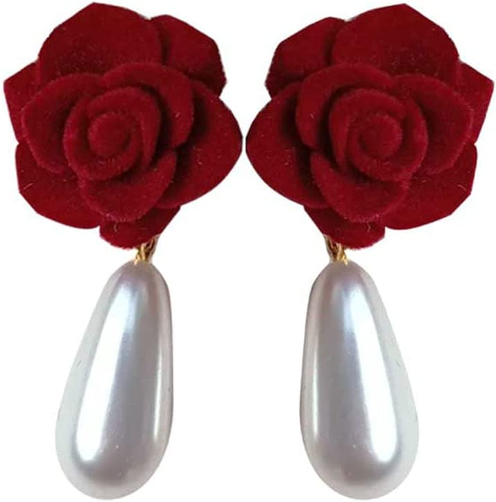 WQSMSZ Vintage Max 56% OFF Luxury goods Camellia Pearl Earrings Silver Needle Gothic 925