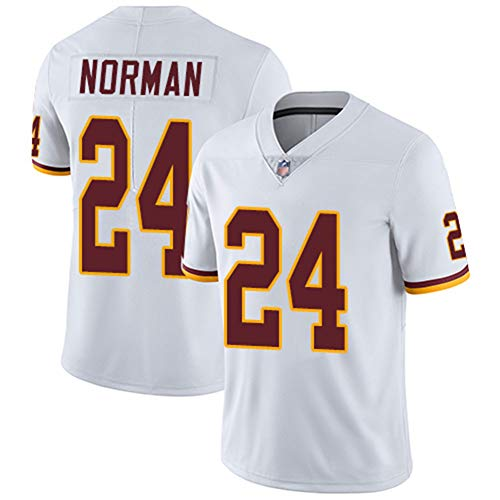 Norman24# Kerrigan91# Washington Redskins Rugby-Kleidung Besticktes Top-American-Football-Trikot-White24-L
