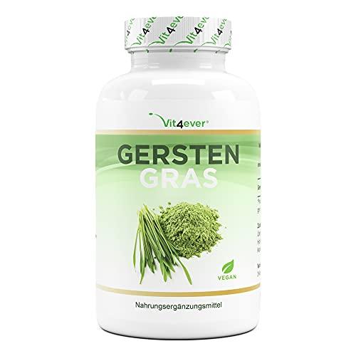 Gerstengras - 365 vegane Kapseln - Hochdosiert mit 1500mg je Tagesportion - Vegan - Ohne unerwünschte Zusätze - Premium Qualität
