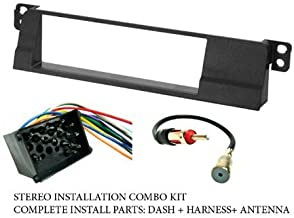 BMW - Stereo wiring Harness, Dash Install Kit Faceplate, with FM Antenna Adaptor (Combo Complete Aftermarket Stereo Wire and Installation Kit)