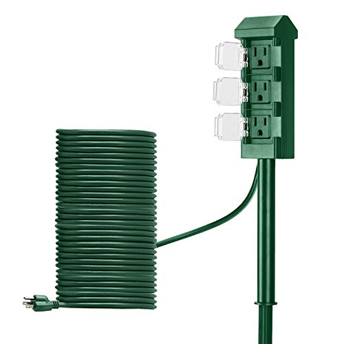 BESTTEN Outdoor Power Stake with 30 Feet Ultra Long Cord, 3-Outlet Power Strip with Weatherproof Protective Covers, ETL Listed, Green