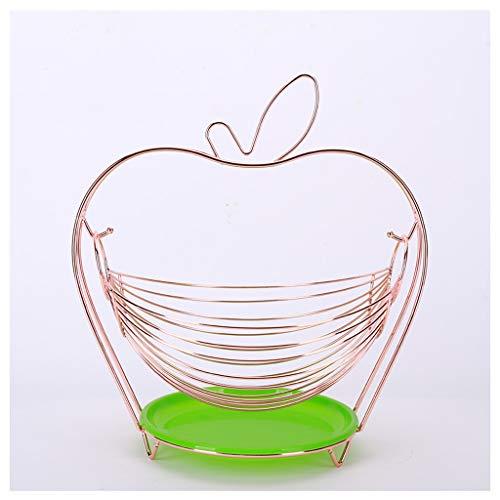 Frutero decoración Planchas de acero inoxidable de la cesta de fruta sala de estar creativa fruta de la cocina europea multifuncional metal cesta del almacenaje Cesta de frutas ( Color : Rose gold )