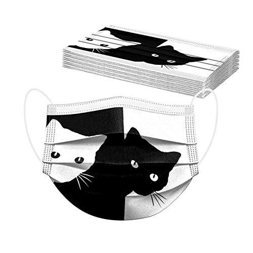 ToDIDAF Erwachsene Einweg Face Mundschutz|Einmal-Mundschutz|3 Lagig Atmungsaktiv Bandana Halstuch |Mode Bunt Hot Cat Druck Maske Bequeme Sport Mund Und Nasenschutz