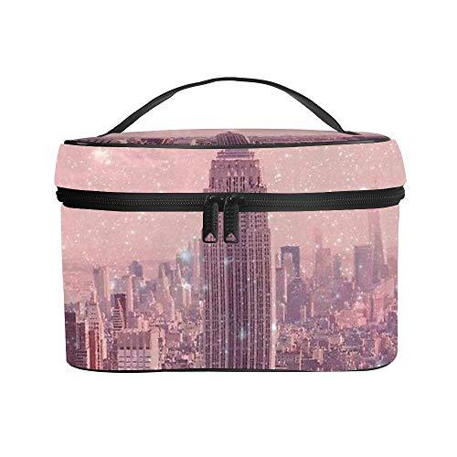 Borsa cosmetica Borsa di Lavaggio Borsa di Ricezione Stardust Copertura New York -up Litchi Materiale in pelle Anti-graffio e anti-fouling Regalo impressionante 25x18x15cm(9.8x7.1x5.9'')