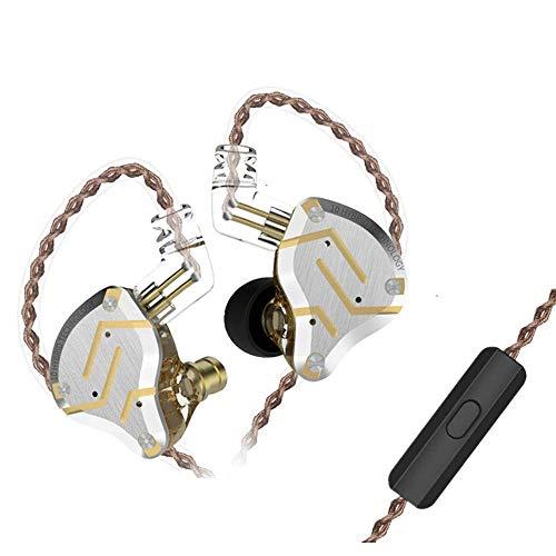 KZ ZS10 Pro IEM Auriculares Hibridos 4BA 1DD Audifonos KZ 4 Balanceados Armadura y 1 Dinámica con Cable Desmontable de 0.75 mm 2pin(Glare Gold with Mic)