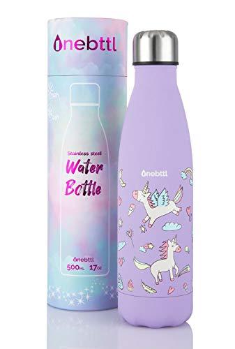 Unicornio Botella Agua sin bpa niños Acero Inoxidable, Cosas de Unicornios para niñas cumpleaños y Fiesta Destello, cantimplora Infantil niña 500ml Aqua…