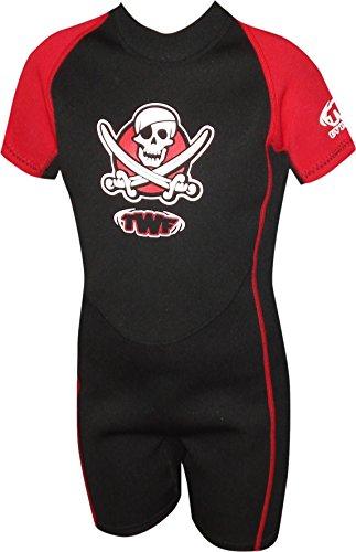 TWF kurzer Piraten-Neoprenanzug für Kinder, rot, 2 ( 5-6 Jahre)