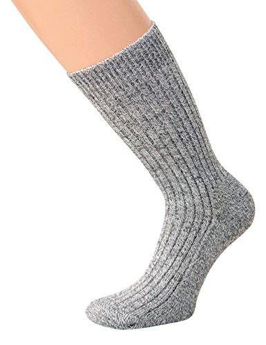 kb-Socken - Wollsocken ohne Gummi Wintersocken Herren Damen warme Wollsocken mit Plüschsohle, graumeliert, 5 Paar, Gr 43-46