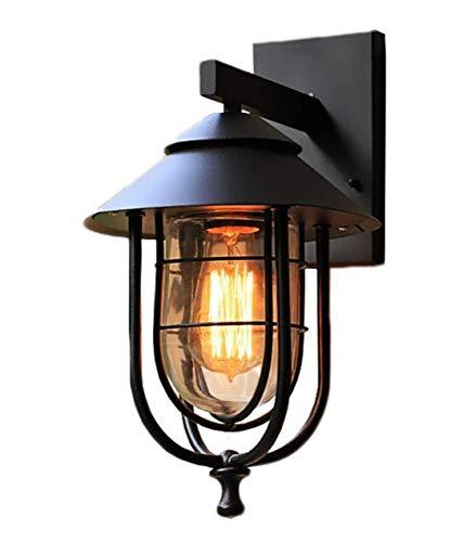 Vintage, buitenlamp, wandlamp, E27, voor buiten, binnen, wandlamp, zwart, metaal en echt glas, lampenkap, buiten-wandverlichting, waterdicht, IP44, tuinlamp, balkon, hal, huis, ingang, terras, paden