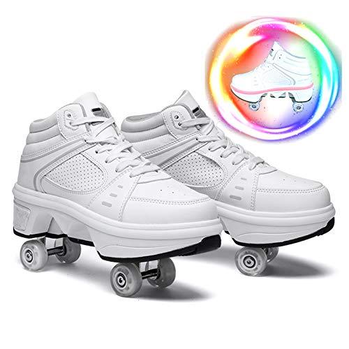 Zapatos con Ruedas para Niños Y Niña Led Luces, Zapatos Multiusos 2 En 1 Patines Zapatillas Deportes Al Aire Libre De Deporte,36