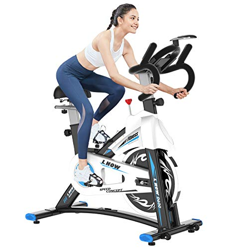 pooboo Indoor Cycling Bike Stationary - Exercise Bike with Comfortable Seat Cushion, iPad Holder & LCD Monitor - Belt Drive Cycle Bikes for Exercise for Home Gym Cardio Workout Training (Blue)