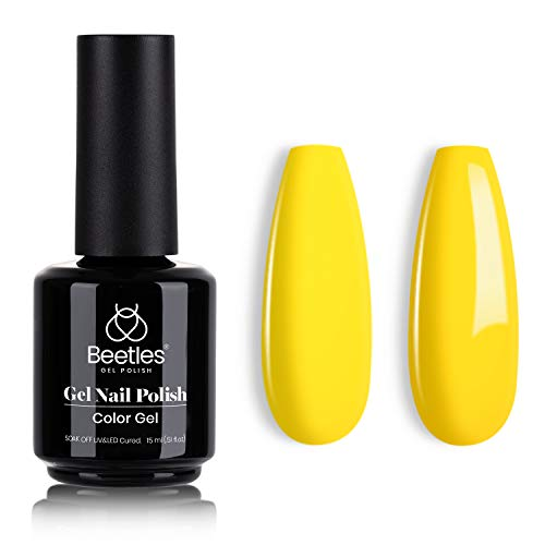 Beetles Gel Polish, 15ml Canary Yellow Color Gel Polish Soak Off LED Nail Lamp Gel Polish Nail Art DIY Home Manicure Salon Gel 0.5OZ