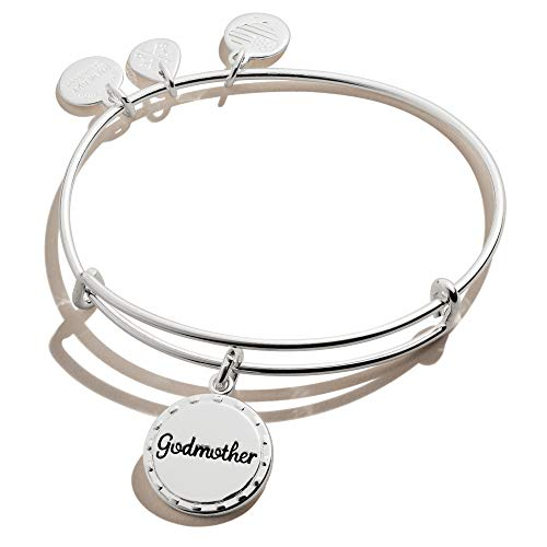 Alex and Ani Because I Love You Godmother Expandable Wire Bangle Bracelet for Women, My Guardian Angel Charm, Shiny Antique Silver Finish, 2 to 3.5 in