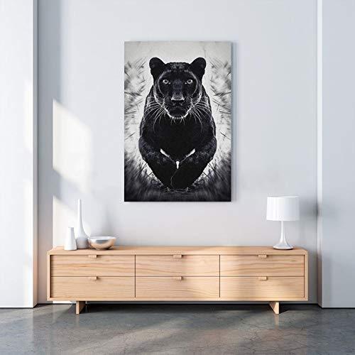 Impresiones de lienzo cuadros de arte de pared pintura decoración del hogar cartel de pantera negra salto salvaje cartel de decoración del hogar mural 60x80cm sin marco