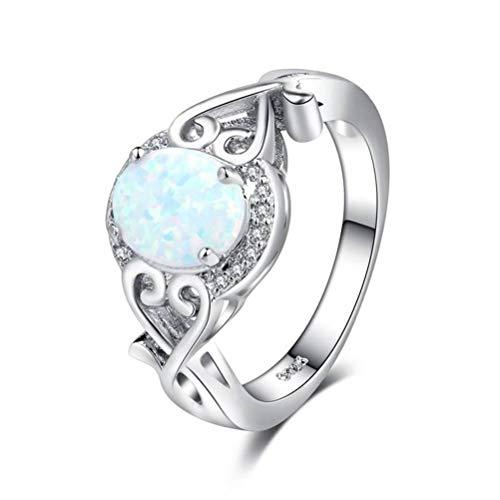 Thumby Goose Protein Europese en Amerikaanse Mode Sieraden Dame Creatieve Diamant Opel Opaal Zilver Ring, Semi-Precious Stenen, Retro Style, Platte Ring, Kanaal Instelling Planten, Banket, Juwelen, Kleur