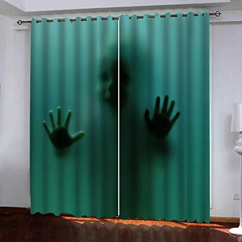 Blickdicht verdunklungsvorhänge mit Ösens,100% Polyester , Ein Satz von 2, Pro Stück 140x210 cm (W x L) ,Moderner Gardinen mit 3D Schatten-Muster - Geeignet für Wohnzimmer und Schlafzimmer