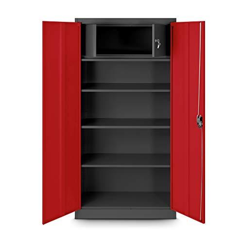 Jan Nowak Aktenschrank mit Geheimfach C001D Metallschrank Büroschrank Stahlblech Pulverbeschichtung 185 cm x 90 cm x 45cm (anthrazit/rot)