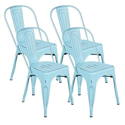 BONZY HOME Metal Dining Chairs Distressed Style, Stackable Side Chairs with Back, Indoor Outdoor Use Chair for Farmhouse, Patio, Restaurant, Kitchen, Set of 4(Light Blue)