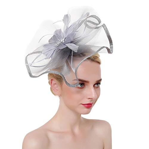 Xiang Ru Fascinator mit Feder-Kopfschmuck und Blume für Damen Gr. Einheitsgröße, grau