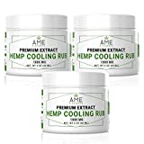 (3000mg) Premium Hemp Seeds Oil Extract Cooling Rub Muscle Pain Relief Cream Anxiety Relief Soothing Rub Natural Calm 2 oz Made in USA by âme d'Essence (Set of 3)
