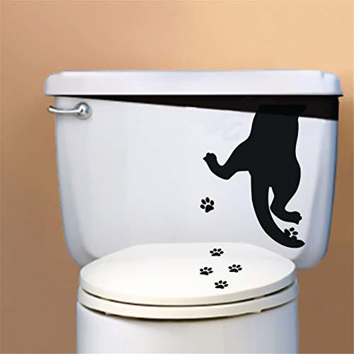 stickers muraux blanche neige Patte de chat pour wc autocollant mural
