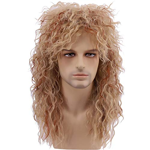 Qaccf 80s Wigs Halloween Costumes Male Wig Long Culry Punk Heavy Metal Mullet Wig (Brown with Highlights)