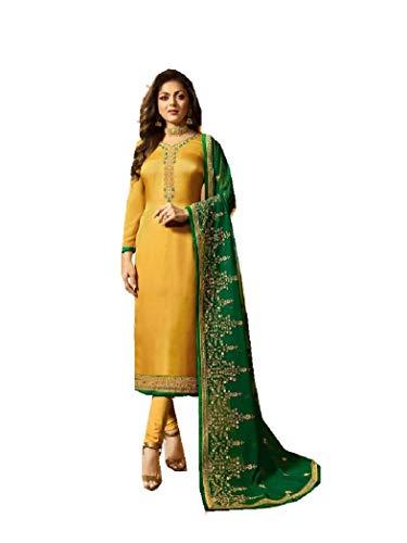 Delisa Designer Wedding Partywear Silk Embroidered Salwar Kameez Indian Dress Ready to Wear Salwar Suit Pakistani LTN (Yellow, SMALL-38)