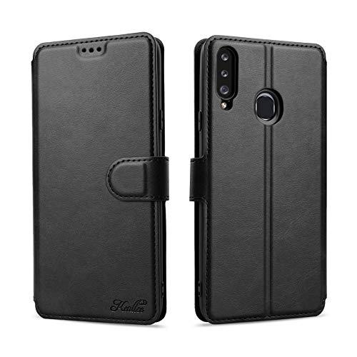 Keallce Kompatibel für Samsung Galaxy A20S Hülle, Handy Lederhülle PU Leder Hülle Brieftasche Handytasche Cover Kompatibel für Samsung Galaxy A20s Ledertasche-6.5 inch, Schwarz